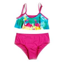 Funfeliz Flamingo Swimwear for Girls Kids 2-10 Years Two Pieces Bathing Suits Cartoon Tankini Swimsuit Children