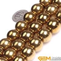 14mm Runde Gold Metallisch Beschichteter Natureinkaufstüten Hämatit Perlen DIY Lose Perlen Für Schmuck Machen Strang 15