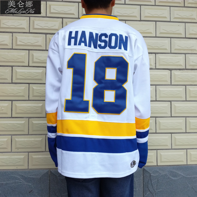 MeiLunNa Christmas Black Friday Slap Shot Charlestown Chiefs Hockey Jerseys #18 Jeff Hanson Brothers Jersey White 1802