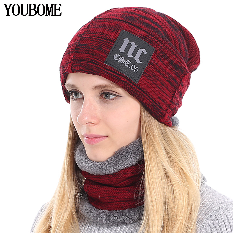 YOUBOME Fashion Winter   Beanie   Knitted Hat Scarf Female Winter Hats For Women Men   Skullies     Beanies   Baggy Girls WarmThicken Caps