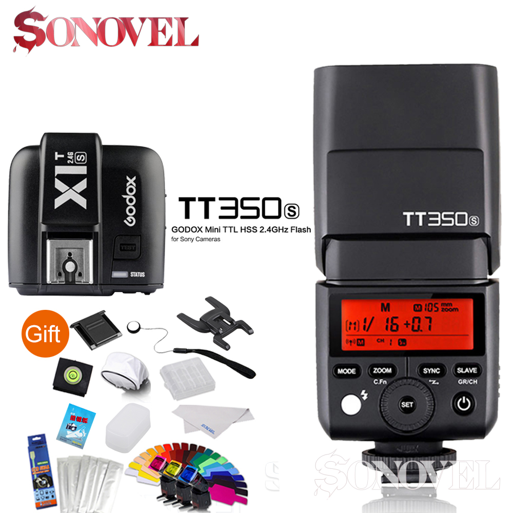 Godox TT350S Mini Speedlite +X1T-S Transmitter TTL HSS GN36 Camera Flash for Sony Mirrorless DSLR Camera A7s A6000 A6500 Series godox v860iic v860iin v860iis x1t c x1t n x1t s hss 1 8000s gn60 ttl flash speedlite 2 4g transmission godox softbox filter