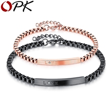 OPK 2017 New Fashion Hollow Box Chain Link Couple Bracelet Male Female Personalized Statement Note ID Bracelets Jewelry GS905(China)