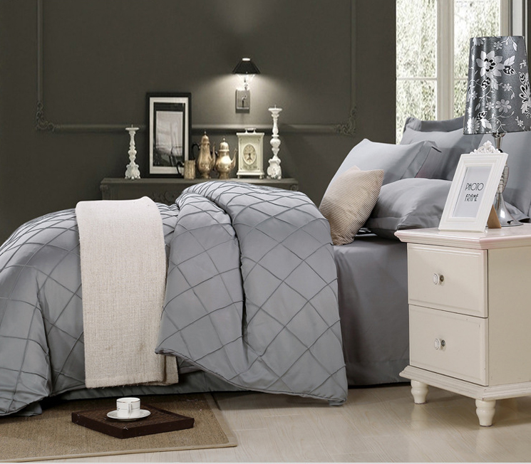 Fashion gray luxury washed silk 4pcs Bedding Set cotton Satin Quilt cover Sheet Full/Queen/King Size Bedclothes Home Textiles