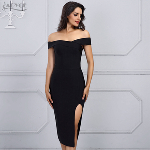 Image 2 - Adyce 2020 nuevo vestido blanco del vendaje del verano mujeres Vestidos negro atractivo del hombro Bodycon Club vestido de celebridad vestido de fiesta de la pasarela