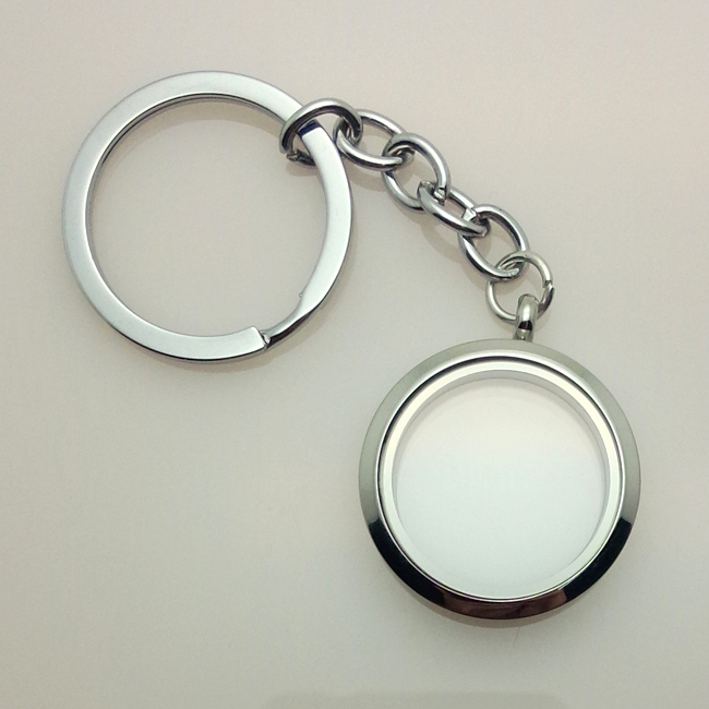 30mm Silver Plain Floating Living Memory Locket Keychain For Floating Charms