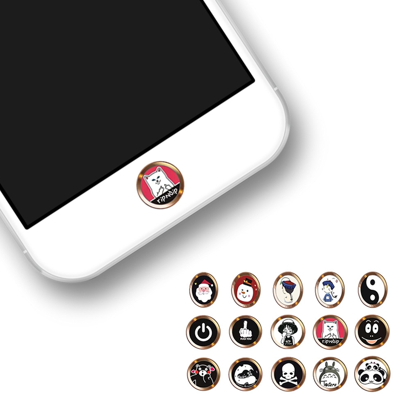 Cartoon nette Touch ID Home Button Aufkleber Für <font><b>iPhone</b></font> 5 5S SE <font><b>6</b></font> 6S 7 8 Plus Für ipad air 2 mini <font><b>Fingerprint</b></font> Identifikation Tastatur image