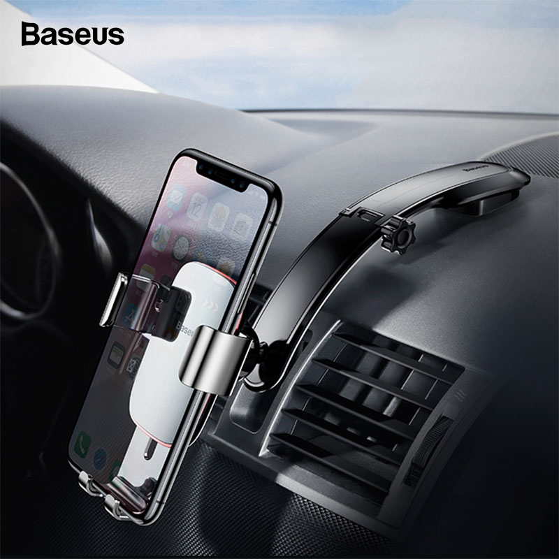 Baseus Universal Car Phone Holder For IPhone11 X Samsung S10 S9  Xiaomi Mount Holder Gravity Metal Plate Cell Phone Holder Stand