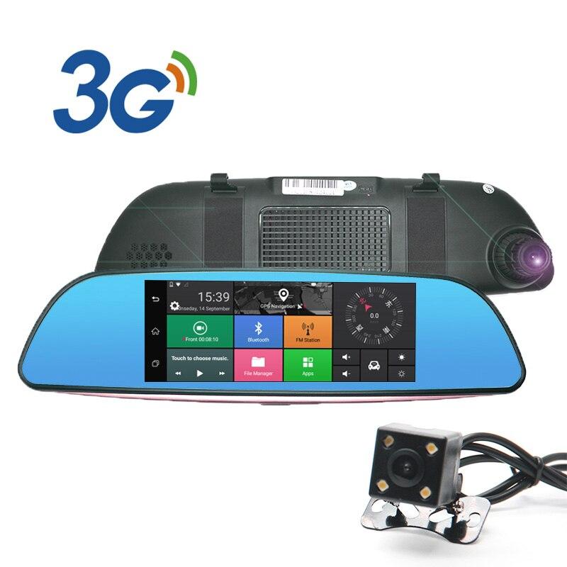 все цены на 7inch IPS 3G Car Camera Android 5.0 GPS car video recorder Bluetooth Dual Lens rearview mirror Dash cam car dvrs онлайн