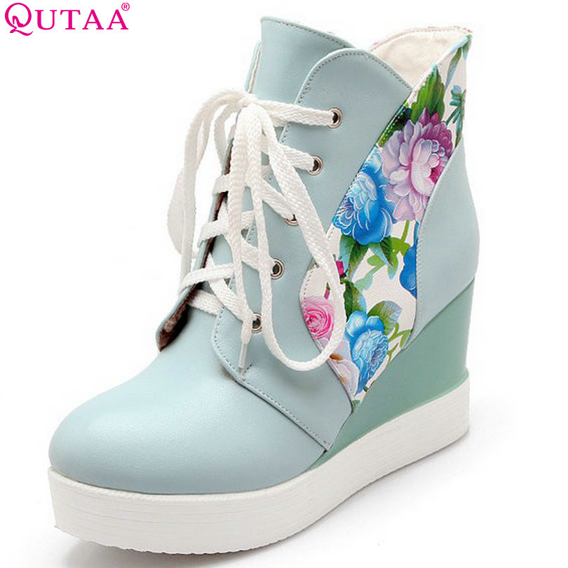 QUTAA New PU Leather Women Ankle Boots Wedge Heel Women Platform Boots Lace Up Women Sexy Ankle Boots Size 34-42 2015 new style women blue wedge boots pu leather women white autumn boots lace up platform boots x793 5
