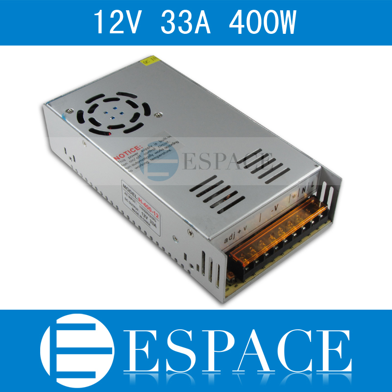 Best quality  12V 33A 400W Switching Power Supply Driver for LED Strip AC 100-240V Input to DC 12V free shipping best quality 5v 2a 10w switching power supply driver for led strip ac 100 240v input to dc 5v free shipping