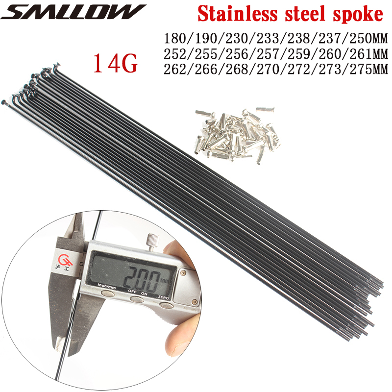 Bicycle Spokes Wire Mountain / Road Bike 304 Stainless Steel Spokes 14G Black High-strength Bicycle Spokes180MM-275MM Spoke Cap