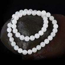 KYSZDL Natural Hetian White Yu Round Beads Necklace Women Short 8 MM White Yu Bead Necklace Jewelry Gift(China)