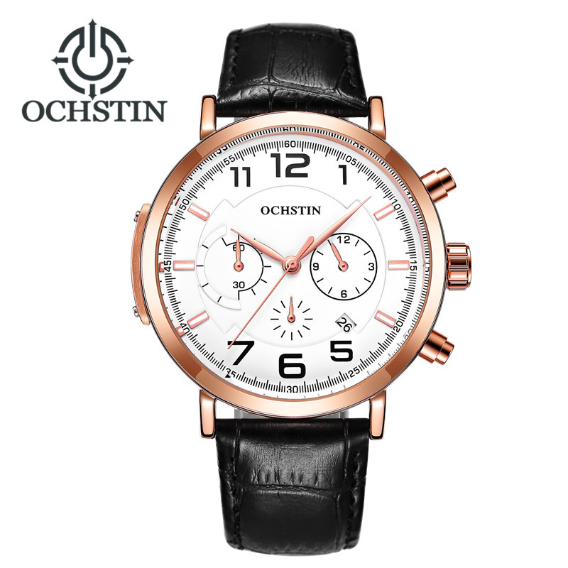 OCHSTIN Mens Watches Top Luxury Brand Date Chronograph Military Army Sport Wristwatch Male Clock Casual Leather Quartz Watch in Quartz Watches from Watches