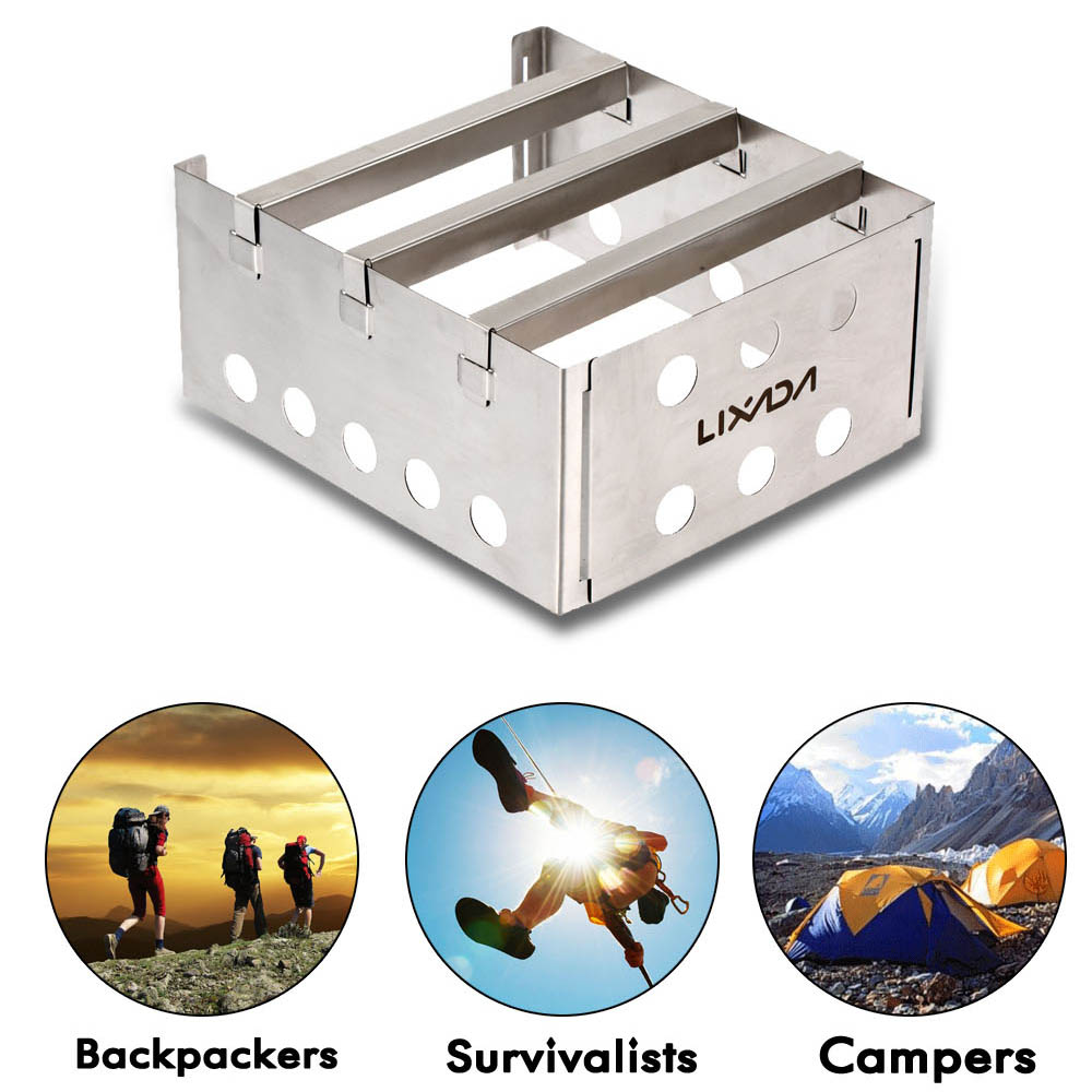 Brilliant Lixada Camping Stove Wood Stove Outdoor Cooking Picnic Camping Backpacking Burner Portable Stainless Steel Lightweight Big Clearance Sale