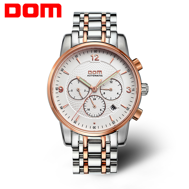 2016 New DOM Men watches top brand luxury waterproof mechanical stainless steel watch Business gold watch reloj Free shipping