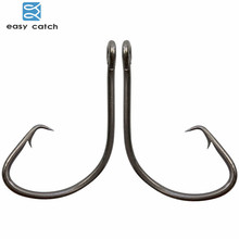 Easy Catch 100pcs 7381 Black Offset Sport Circle Bait Fishing Hook Size 1 2 4 6 1/0 2/0 3/0 4/0 5/0 6/0 7/0 8/0 9/0 10/0