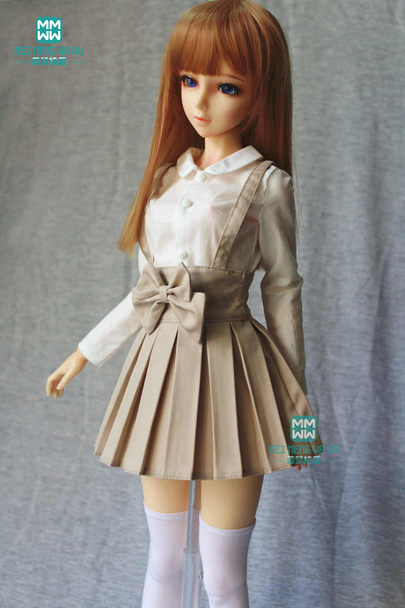 BJD accessories doll clothes girl dress fits 60cm 1/3 BJD doll fashion sling pleated skirt student wear