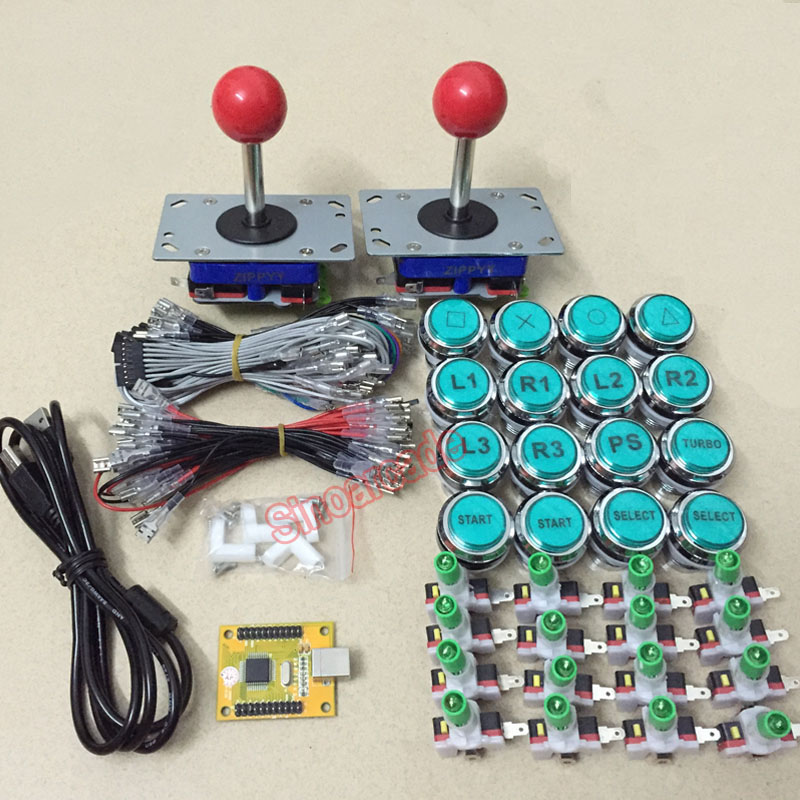 Arcade mame DIY KIT FOR 2 players PC PS/3 2 IN 1 to joystck LED button with icons interface USB 2 player MAME Interface hormonal key players for obesity in children with down syndrome