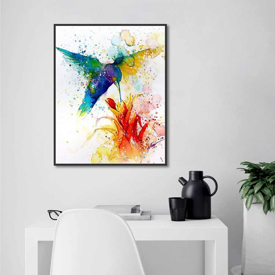 Nordic Modern Watercolor Hummingbird Flowering Canvas Painting HD Printed Wall Art Poster for Living Room Home Decoration