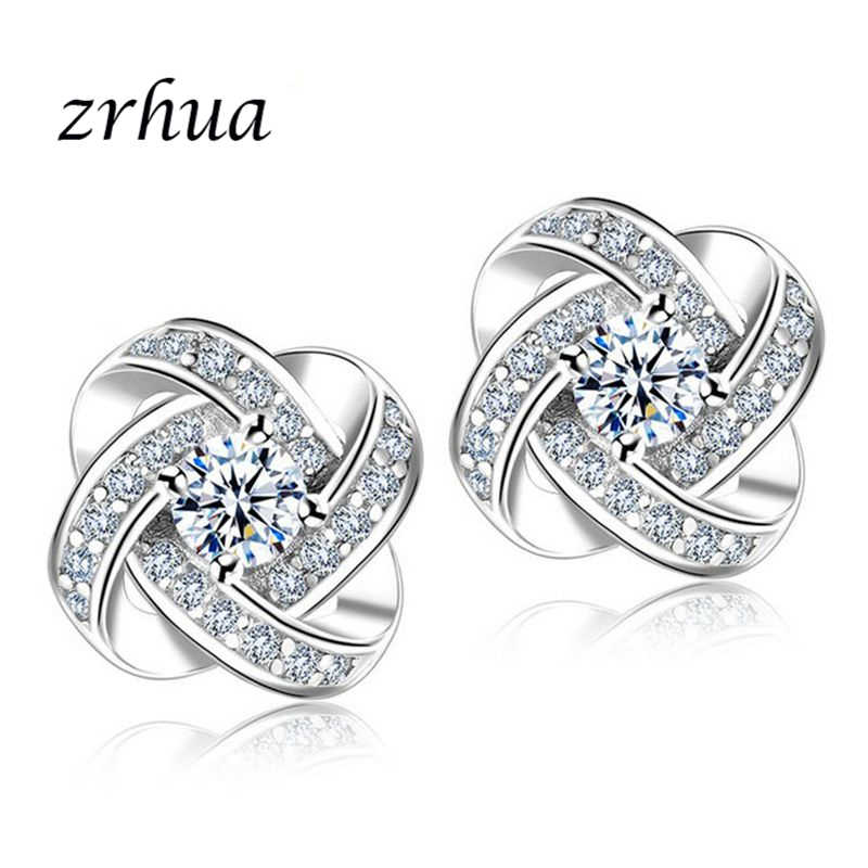 ZRHUA 2019 New Korean 925 Sterling Silver Stud Earrings For Women Fashion Jewelry Accessories Elegant Brinco Engagement Gift