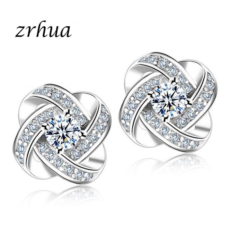 Stud Earrings Zrhua Original 925 Silver Stud Earrings For Women Stud Earring With Stones Women Flower Earings Fashion Jewelry Cute Girl Gifts Jewelry & Accessories