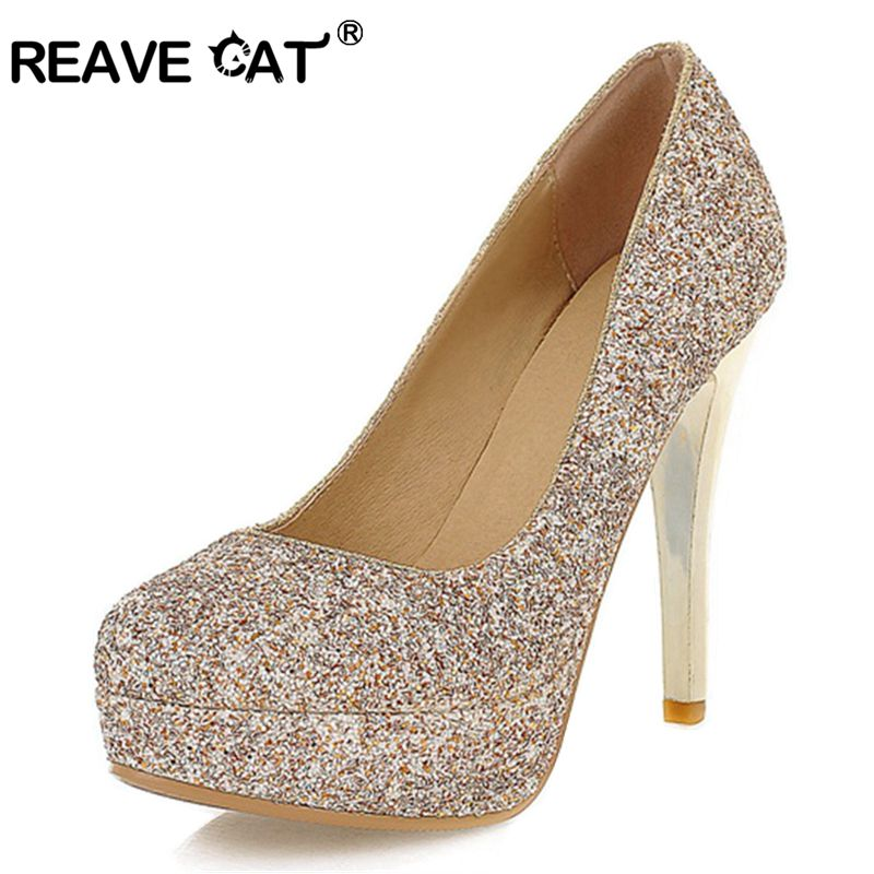 REAVE CAT Big size 34 43 Women Wedding shoes pumps High heel Fashion sexy summer  women Pumps Wedding shoes lady spool heels-in Women s Pumps from Shoes on  ... 7a15b32da88f