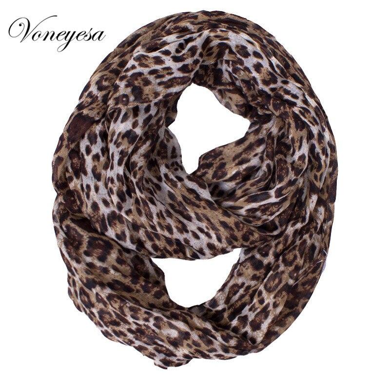 Для женщин осень модные коричневые Цвет Леопардовый Бесконечность шарф снуд Для женщин большой Размеры полиэстер шарф ringfree доставка ro1750320