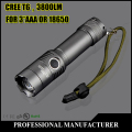 3800Lumens cree led CREE XM-L T6 Torch Zoomable cree LED Flashlight Torch light For 1x18650 Free shipping+Gift[183-T6]