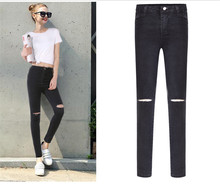 free shipping washing black  jeggings holes denim jeans womens fitness plus size Lady's pencil pants denim women