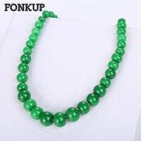 Fonkup Green Jasper Necklace Bohemia Women Pendant Jewellery Female Short Chain Party Ornament Round Rolo Chain Thick Bead Joyas