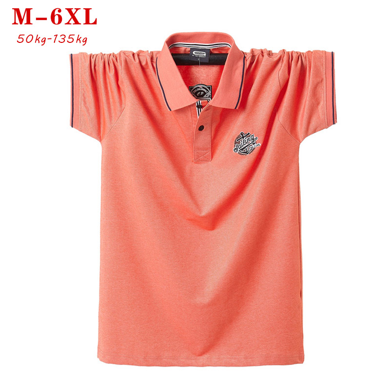 2019 Summer Mens   Polo   Shirts Pure Cotton Shirt Short Sleeve Embroidered casual Top Solid Oversized   Polo   Shirt plus size 5xl 6xl