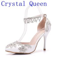 Crystal Queen Sandals Woman Wedding Shoes Bride High Heels Party Ladies Shoes Women Crystal Rhinestone Pointed Toe Pumps 9CM