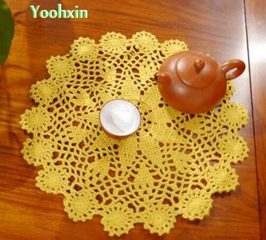 Hot Crochet Table Place Mat Cloth Lace Cotton Placemat Cup Mug