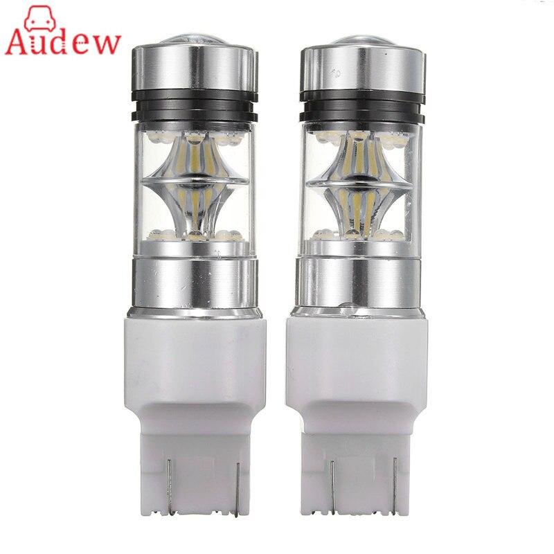 2Pcs LED Turn Light T20 7440 7443 100W 20SMD LED Car Brake Light Backup Reverse Bulb Lamp 2x canbus car led light bulb 7440 7443 2835 smd12v auto light reverse backup lighting for 2014 mazda 5 6
