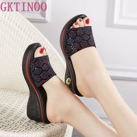 GKTINOO Slippers Woman Rhinestone Genuine Leather Summer Shoes Fashion Wedges Heels Sandals Women's Slides Large Size 40 41