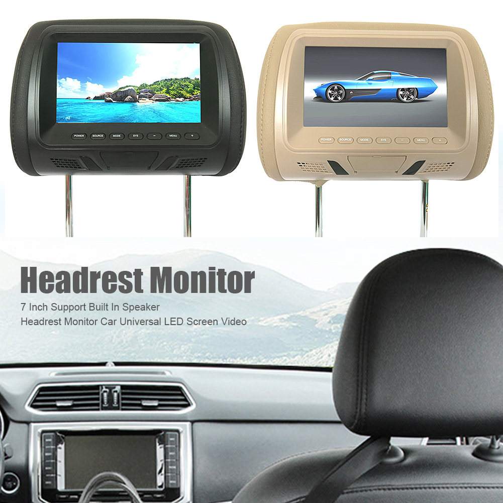 7 Inch Car Headrest Monitor Seat Back LED Screen Digital USB Pillow Monitor Multi Media Camera Video Player Built-in Speaker(China)