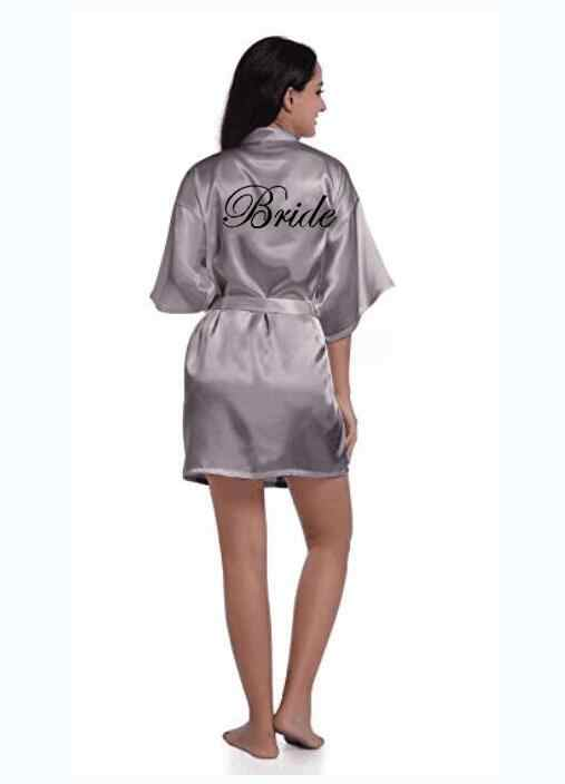 a330c46d49 sexy grey silver robe kimono bridal pajamas wedding robe bridesmaid matron  maid of honor sister mother
