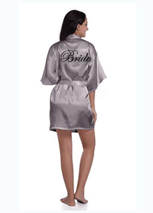 Sexy Grey Silver Robe Kimono Bridal Pajamas Wedding Robe Bridesmaid Matron Maid Of Honor Sister Mother Of The Bride Robes
