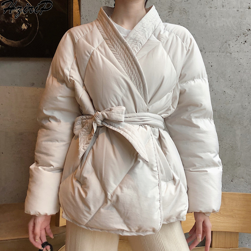 Hzirip 2019 New Design Female Women Winter Solid Sashes Coat Thick High Quality Students Outwear Sweet