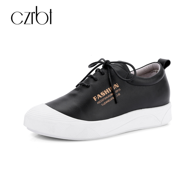 CZRBT Women Shoes Genuine Leather Casual Flats Woman Comfortable  Rubber Sole Lace-Up Platform Shoes Woman Fashion Flat Shoes 2017 patchwork lace up rubber sole canvas shoes breathable super leisure women casual shoes with flats student shoes rm 05