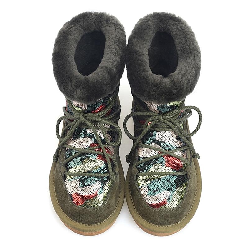 Bling D'hiver Neige Bout Femmes À Chaud Noir Bottes Laine Stylesowner Lacent Cuir Paillettes Suède army Véritable En Chaussures Rond Green De Cheville dxQhCsBtr