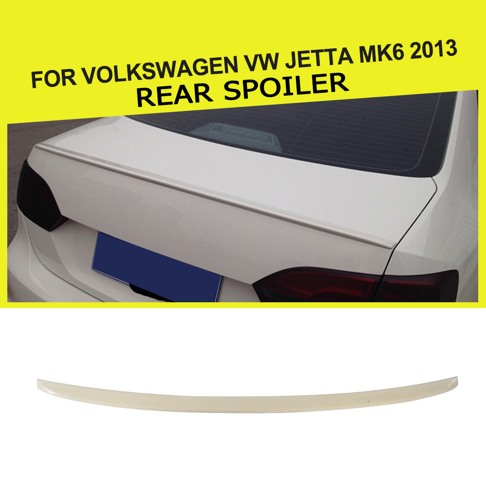 ABS Unpainted Grey Primer Rear Wing Spoiler Car Boot Lip Spoiler For Volkswagen VW Jetta MK6 2013 unpainted rear roof lip spoiler wing for bmw e87 e81 2004 2011