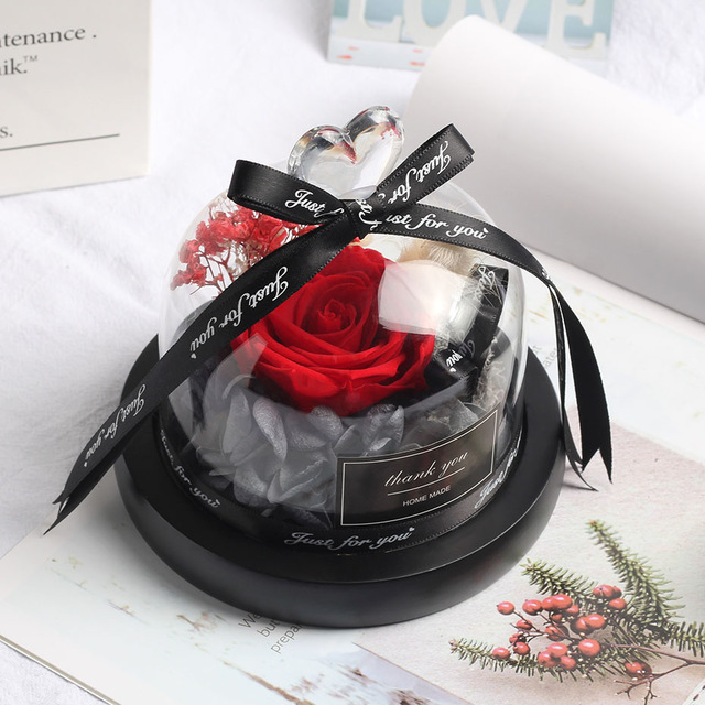 Rose in Glass Dome Preserved Flowers in Gift Box Wedding Birthday Creative Gift