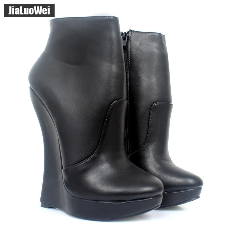 Jialuowei Fetisch Stallion Horse Hufsohle Ankle Boots mit Reißverschluss BDSM Plateau Runway Rockstar Nachtclub Goth Punk Hallo Fersenschuh
