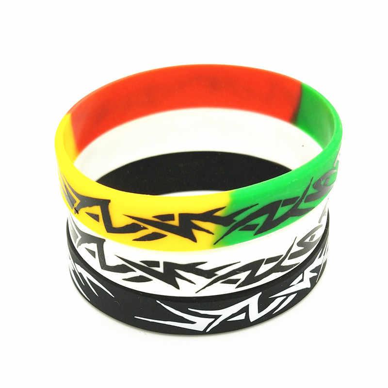 3 قطعة سوار سيليكون غانا الموضة و أساور أسود أبيض اللون الحرير الشاشة سوار معصم من السيليكون للكبار مجوهرات هدايا SH273