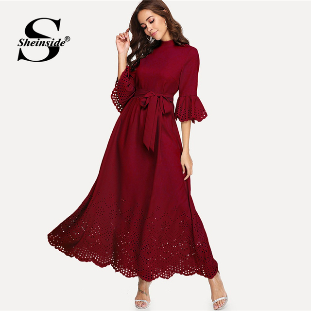 ff5a1314c3eea US $27.98 40% OFF|Sheinside Scalloped Hollow Out 3/4 Sleeve Dress 2019  Spring Elegant Flounce Sleeve Solid Maxi Dresses High Waist A Line Dress-in  ...
