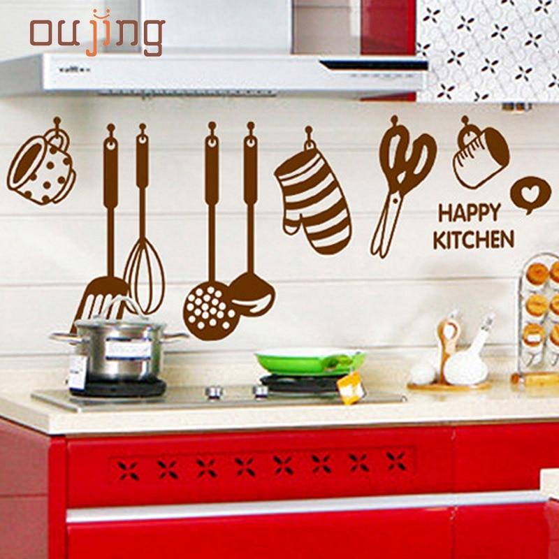 diy rimovibile felice cucina decalcomania della parete del vinile home decor wall stickers new pvc spedizione