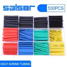 530pcs/set Heat Shrink Tubing Electronic Polyolefin Ratio 2:1 Insulation Shrinkable Tube Assortment Wrap Wire Cable Sleeve Kit 12mm dia polyolefin heat shrinkable tube shrink tubing wire wrap 10m 33ft green