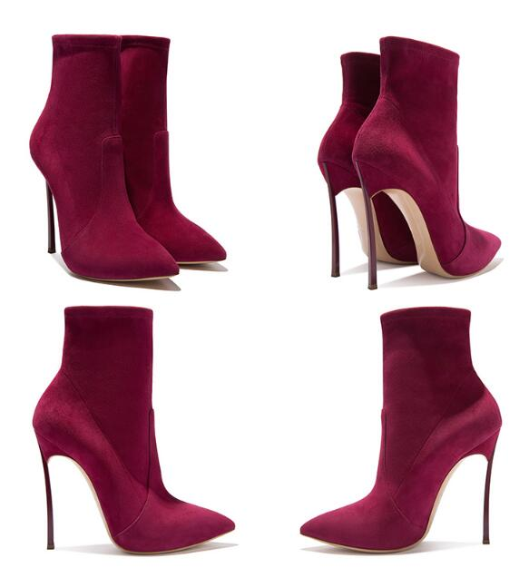 New comfortable suede pointed toe high-heeled sexy stretch short woman boots spike high heel woman ankle boots large size customNew comfortable suede pointed toe high-heeled sexy stretch short woman boots spike high heel woman ankle boots large size custom