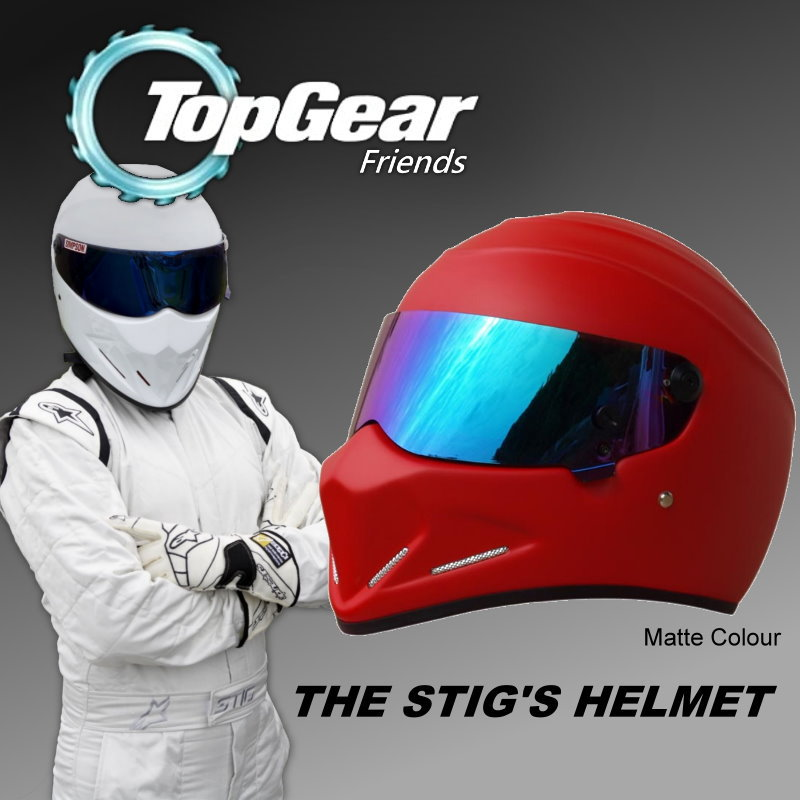 купить TopGear The STIG Matte Red Helmet / TG Fans's Collectable Like as SIMPSON Pig / with Silver Black Colorful 3 styles Visors недорого